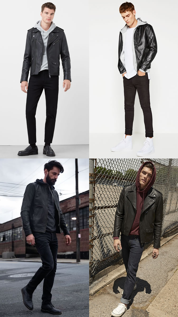 Men's Hoodies with Leather Jackets Outfit Inspiration Lookbook