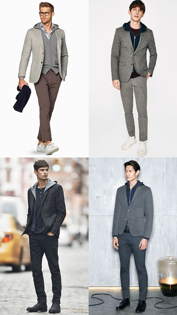 Men's Hoodies With Tailoring Outfit Inspiration Lookbook
