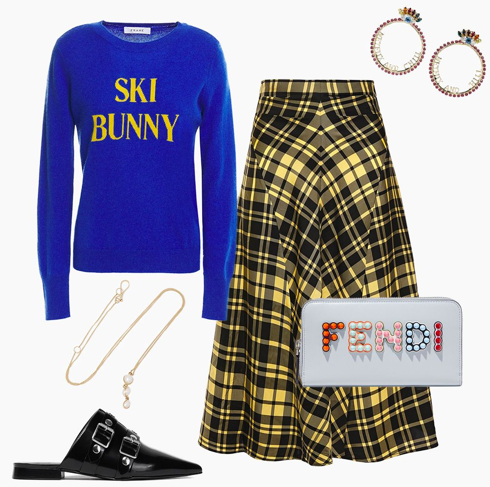 the outnet sale, black leather jacket, patent leather mules, denim jumpsuit, crystal earrings reading netflix and chill, plaid yellow skirt, and sweater reading ski bunny